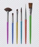 Sistema de los cepillos realistas para pintar, brochas en fondo transparente Ilustración del vector stock de ilustración