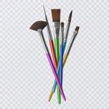 Sistema de los cepillos realistas para pintar, brochas en fondo transparente Ilustración del vector libre illustration