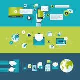 Sistema de los conceptos de diseño planos para el correo electrónico Imagen de archivo libre de regalías