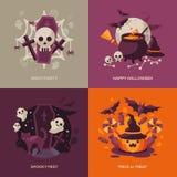 Sistema de los conceptos de Halloween Ilustración del vector Imagenes de archivo