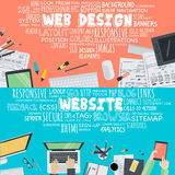 Sistema de los conceptos planos del ejemplo del diseño para el diseño web y el desarrollo Imagen de archivo libre de regalías