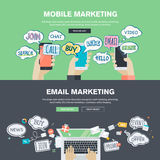 Sistema de los conceptos planos del ejemplo del diseño para el márketing del móvil y del correo electrónico Foto de archivo