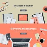 Sistema de los conceptos planos del ejemplo del diseño para la gestión del negocio y de márketing