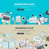 Sistema de los conceptos planos del ejemplo del diseño para el plan del plan empresarial y de márketing Imagen de archivo