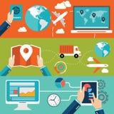 Sistema de los conceptos planos del ejemplo del vector del diseño para la disposición del sitio web, los servicios de teléfono mó Fotos de archivo libres de regalías