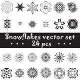 Sistema de los copos de nieve del vector para el fondo de la Navidad Imágenes de archivo libres de regalías