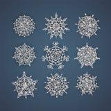 Sistema de los copos de nieve del vector con texturas que brillan, del fondo para el invierno y del tema de la Navidad Ilustració ilustración del vector