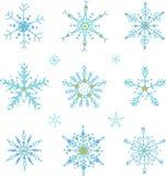 Sistema de los copos de nieve del vector del estilo del garabato libre illustration
