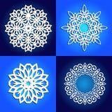 Sistema de los copos de nieve del vector para el corte del laser libre illustration