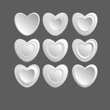 Sistema de los corazones blancos Imágenes de archivo libres de regalías