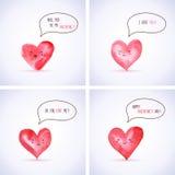 Sistema de los corazones de la acuarela para el día de tarjeta del día de San Valentín ilustración del vector