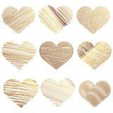 Sistema de los corazones handdrawn del oro para el día del ` s de la tarjeta del día de San Valentín Vector libre illustration
