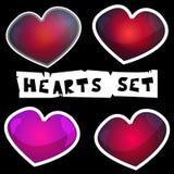 Sistema de los corazones para el día o la boda de las tarjetas del día de San Valentín fotografía de archivo
