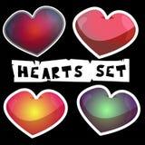 Sistema de los corazones para el día y la boda de las tarjetas del día de San Valentín fotografía de archivo libre de regalías