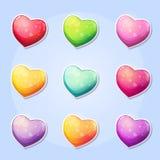 Sistema de los corazones por un día de tarjeta del día de San Valentín del juego de ordenador Fotos de archivo libres de regalías