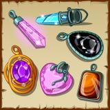 Sistema de los cristales, de los colgantes y de la otra joyería stock de ilustración