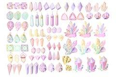 Sistema de los cristales del vector stock de ilustración