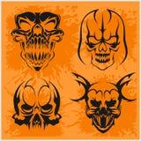 Sistema de los cráneos tribales para el tatuaje Fotografía de archivo libre de regalías