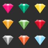 Sistema de los diamantes de la historieta, cristales en diversos colores stock de ilustración