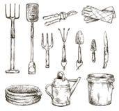 Sistema de los dibujos de las herramientas que cultivan un huerto, ejemplos del vector Foto de archivo libre de regalías
