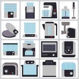Sistema de los dispositivos de los iconos para la cocina Foto de archivo libre de regalías