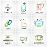 Sistema de los diversos logotipos de la compañía, iconos del negocio Fotos de archivo