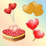 Sistema de los dulces para el día de tarjeta del día de San Valentín Fotografía de archivo