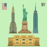 Sistema de los edificios famosos de Nueva York Fotografía de archivo