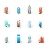 Sistema de los edificios isométricos de la ciudad libre illustration