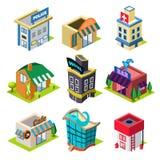 Sistema de los edificios y de las tiendas isométricos de la ciudad Fotos de archivo libres de regalías