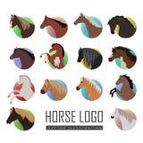 Sistema de los ejemplos de Logo Flat Style del caballo Foto de archivo libre de regalías