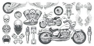 Sistema de los ejemplos del vector, iconos de la motocicleta en diversos ángulos, cráneos, alas del vintage Foto de archivo