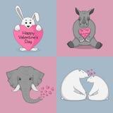 Sistema de los ejemplos del vector para el día de tarjeta del día de San Valentín con los animales lindos Fotografía de archivo libre de regalías
