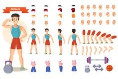 Sistema de los ejemplos de la historieta para crear un carácter, hombre de negocios stock de ilustración