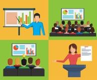 Sistema de los ejemplos minimalistic planos, situaciones de la reunión de negocios de la conferencia Ilustración del Vector