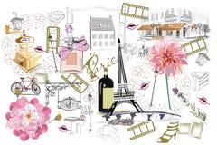 Sistema de los ejemplos de París con las muchachas, los cafés y los músicos de la moda stock de ilustración