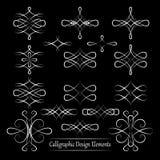 Sistema de los elementos caligráficos del vector blanco para su diseño en bla Fotos de archivo