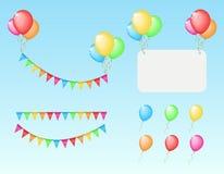 Sistema de los elementos de color para el cumpleaños Fotografía de archivo