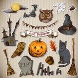 Sistema de los elementos de Halloween del diseño de los garabatos Imagenes de archivo