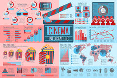 Sistema de los elementos de Infographic del cine con los iconos Fotografía de archivo