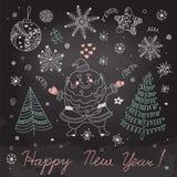 Sistema de los elementos de la Navidad para el diseño Imágenes de archivo libres de regalías