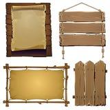 Sistema de los elementos de madera para el diseño Fotos de archivo libres de regalías