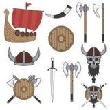 Sistema de los elementos de vikingo del color aislados en el fondo blanco Imagenes de archivo
