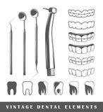 Sistema de los elementos del dentista Fotografía de archivo libre de regalías