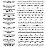 Sistema de los elementos del diseño floral y de la decoración caligráficos de la página Fotografía de archivo