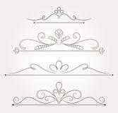 Sistema de los elementos del diseño floral y de la decoración de la página Fotos de archivo libres de regalías