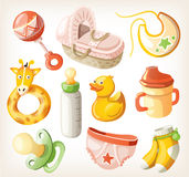 Sistema de los elementos del diseño para la fiesta de bienvenida al bebé Imagen de archivo
