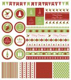Sistema de los elementos del diseño para la fiesta de Navidad Fotos de archivo