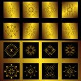 Sistema de los elementos del oro para el diseño Imágenes de archivo libres de regalías