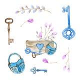 Sistema de los elementos dibujados mano decorativa del garabato de Pascua para el diseño equipo con textura de la acuarela fotos de archivo